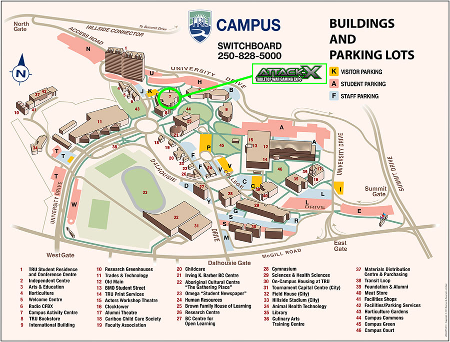 TRU campus map AttackX Tabletop War Gaming Expo in Kamloops BC